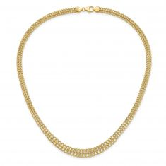 REEDS TRUE ITALY Yellow Gold Graduated Fancy Link Chain Necklace