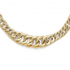 REEDS TRUE ITALY Yellow Gold Graduated Interlocking Link Necklace