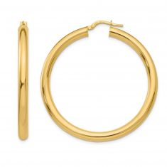 REEDS TRUE ITALY Yellow Gold Large Tube Hoop Earrings, 45mm
