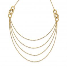 REEDS TRUE ITALY Yellow Gold Layered Rope Chain Necklace