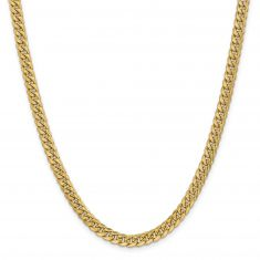 REEDS TRUE ITALY Yellow Gold Semi-Solid Miami Cuban Chain Necklace 6mm, 18 Inches