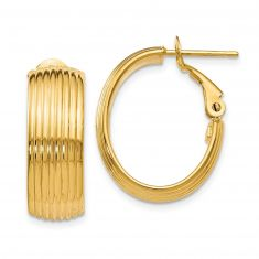 REEDS TRUE ITALY Yellow Gold Textured Hoop Earrings, 21mm