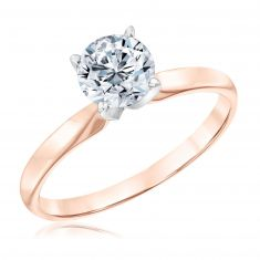 Rose Gold Classic Round Diamond Solitaire Engagement Ring 1ct