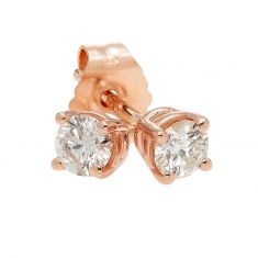 Rose Gold Round Diamond Solitaire Stud Earrings 1/4ctw