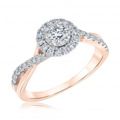 Ellaura Blush Round Diamond Bypass Rose Gold Engagement Ring 5/8ctw