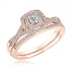 Ellaura Blush Round Diamond Double Cushion Halo Rose Gold Engagement and Wedding Ring Bridal Set 1/2ctw