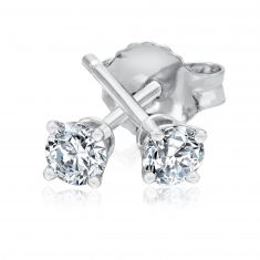 Classic Round Diamond Solitaire Earrings 1/5ctw