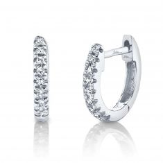Shy Creation Round Diamond Huggie Hoop White Gold Earrings 1/20ctw