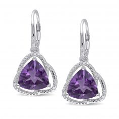 Trillion Amethyst and Diamond Leverback Earrings