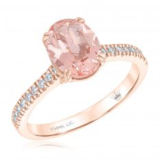 True by Hallmark Bridal Oval Morganite and Diamond Engagement Ring 1/6ctw