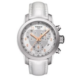 67f112eed3a Ladies' Tissot PRC 200 Quartz Chronograph Leather Strap Watch  T0552171603201 | REEDS Jewelers