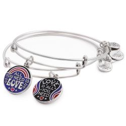 Alex and Ani All You Need Is Love Set of Two Charm Bangle Bracelets - Rafaelian Silver Finish