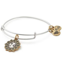Alex and Ani Aries Two Tone Charm Bangle Bracelet - Rafaelian Gold and Silver Finish