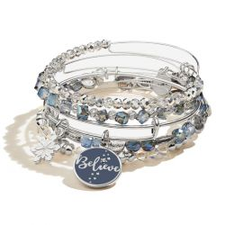 Alex and Ani Believe and Snowflake Duo Set of Five Charm Bangle Bracelets - Shiny Silver Finish