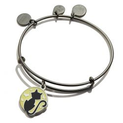 Alex and Ani Black Cat Glow in the Dark Charm Bangle Bracelet - Midnight Silver Finish