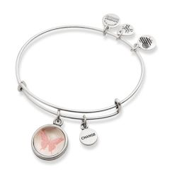 Alex and Ani Butterfly and Change Mantra Duo Charm Bangle Bracelet - Rafaelian Silver Finish