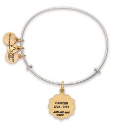 Alex and Ani Cancer Two Tone Charm Bangle Bracelet - Rafaelian Gold and Silver Finish
