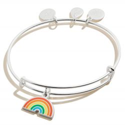 Alex and Ani Color Infusion Rainbow Charm Bangle Bracelet - Shiny Silver Finish