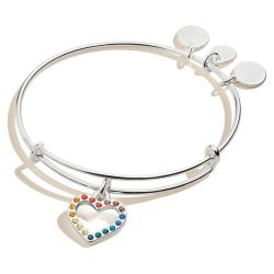 Alex and Ani Color Infusion Rainbow Heart Charm Bangle Bracelet - Shiny Silver Finish