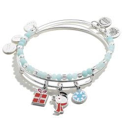 Alex and Ani Frosty The Snowman Charm Set of Two Bangle Bracelets - Shiny Silver Finish