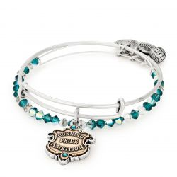 Alex and Ani Harry Potter Slytherin Moto Set of Two Bangle Bracelets - Rafaelian Silver Finish