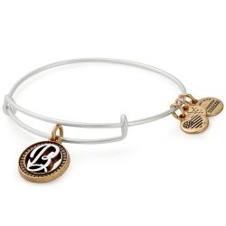 Alex and Ani Initial B Two-Tone Charm Bangle Bracelet - Rafaelian Gold and Silver Finish