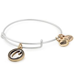 Alex and Ani Initial C Two-Tone Charm Bangle Bracelet - Rafaelian Gold and Silver Finish