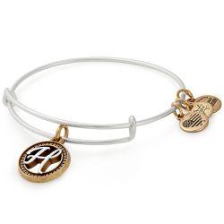 Alex and Ani Initial H Two-Tone Charm Bangle Bracelet - Rafaelian Gold and Silver Finish