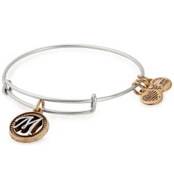 Alex and Ani Initial M Two-Tone Charm Bangle Bracelet - Rafaelian Gold and Silver Finish