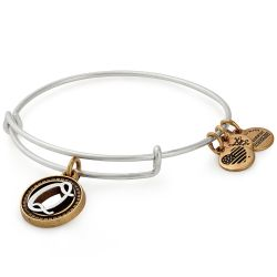 Alex and Ani Initial Q Two-Tone Charm Bangle Bracelet - Rafaelian Gold and Silver Finish