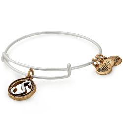 Alex and Ani Initial S Two-Tone Charm Bangle Bracelet - Rafaelian Gold and Silver Finish