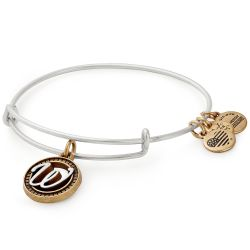 Alex and Ani Initial W Two-Tone Charm Bangle Bracelet - Rafaelian Gold and Silver Finish