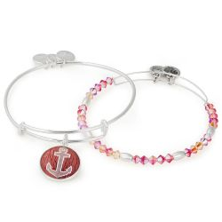 Alex and Ani June Limited Edition Anchor Art Infusion Set of Two Bangle Bracelets - Shiny Silver Finish