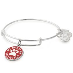 Alex and Ani My Dog Is My Valentine Charm Bangle Bracelet - Shiny Silver Finish