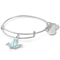 Alex and Ani Paper Crane Charm Bangle - Shiny Silver Finish