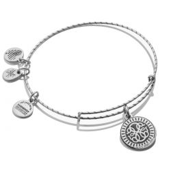 Alex and Ani PATH OF LIFE Double Sided Embossed Charm Bangle Bracelet - Rafaelian Silver Finish