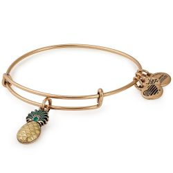Alex and Ani Pineapple Color Infusion Charm Bangle Bracelet - Rafaelian Gold Finish