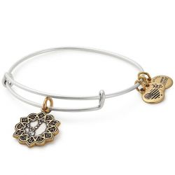 Alex and Ani Pisces Two Tone Charm Bangle Bracelet - Rafaelian Gold and Silver Finish