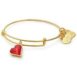 Alex and Ani (PRODUCT)RED Heart of Strength Charm Bangle - Shiny Gold Finish