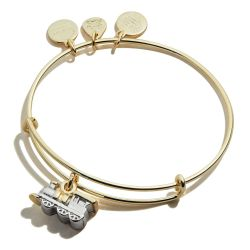 Alex and Ani Train Two-Tone Charm Bangle Bracelet - Shiny Gold and Silver Finishes