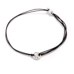 Alex and Ani World Peace Black Kindred Cord Bracelet - Sterling Silver