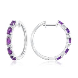 Amethyst and Created White Sapphire Hoop Earrings