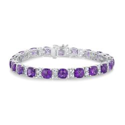 Amethyst and Created White Sapphire Sterling Silver Tennis Bracelet