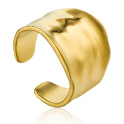 Ania Haie Crush Wide Adjustable Ring, Gold Plated