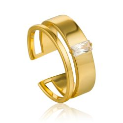 Ania Haie Glow Wide Adjstable Ring, Gold-Plated