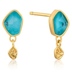 Ania Haie Turquoise Drop Stud Earrings, Gold-Plated