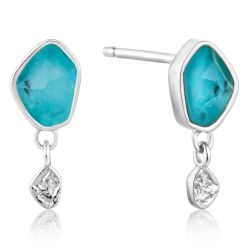 Ania Haie Turquoise Drop Stud Earrings, Sterling Silver