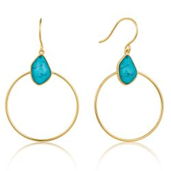 Ania Haie Turquoise Front Hoop Earrings, Gold-Plated