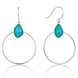 Ania Haie Turquoise Front Hoop Earrings, Sterling Silver