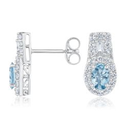 Aquamarine and Created White Sapphire Halo Sterling Silver Earrings